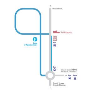 Plànol d'aparcament de vehicles privats i ruta del bus llançadora.